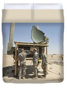 Soldiers Checking A Radar System Duvet Cover