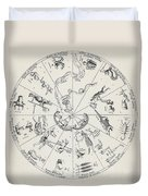 Star Map From Kirchers Oedipus Duvet Cover