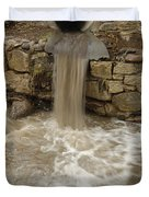 Storm Sewer Water Rushes Into A Stream Duvet Cover