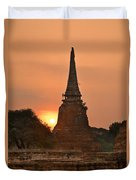 Stupa Chedi Of A Wat In Ayutthaya Thailand Duvet Cover