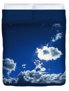 Sunlit Fluffy White Clouds In A Blue Duvet Cover