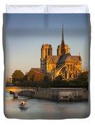 Sunrise Over Notre Dame Duvet Cover