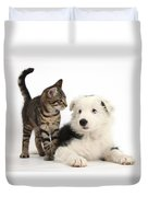 Tabby Kitten & Border Collie Duvet Cover
