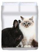 Tabby-point Birman Cat And Black Rabbit Duvet Cover