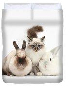 Tabby-point Birman Cat And Rabbits Duvet Cover