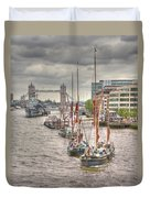 Thames Barges Tower Bridge 2012 Duvet Cover
