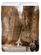 The Slot Canyons Leading Into Petra Duvet Cover