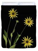 Three Yellow Flowers Duvet Cover