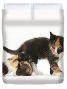 Tortoiseshell Kitten With Baby Duvet Cover