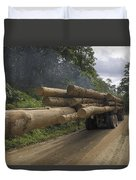Truck With Timber From A Logging Area Duvet Cover