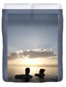 Two Friends Enjoy The Sunset Duvet Cover