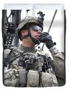 U.s. Army Soldier Communicates Duvet Cover