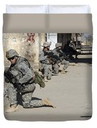 U.s. Army Soldiers Providing Security Duvet Cover by Stocktrek Images