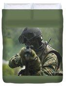 U.s. Marine During Combat Operations Duvet Cover