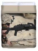 U.s. Marine Prepares To Fire A Pk Duvet Cover