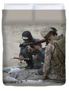 U.s. Marine Watches An Afghan Police Duvet Cover