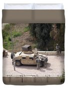 U.s. Military Soldiers Take A Well Duvet Cover by Terry Moore