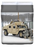 U.s. Soldiers Take Cover Duvet Cover