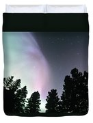 View Of Trees And Northern Lights Duvet Cover