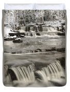 Waterfalls With Fresh Snow Thunder Bay Duvet Cover