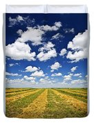 Wheat Farm Field At Harvest In Saskatchewan Duvet Cover by Elena Elisseeva