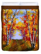White Birch Tree Abstract Painting In Autumn Duvet Cover