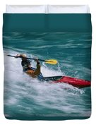 Whitewater Kayaker Surfing A Standing Duvet Cover