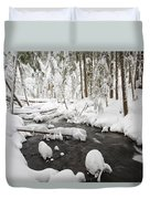 Winter Snow Along Still Creek In Mt Duvet Cover