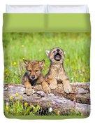 Wolf Cubs On Log Duvet Cover
