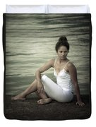 Woman At A Lake Duvet Cover