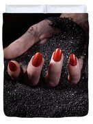 Woman Hand With Red Nails On Black Sand Duvet Cover