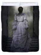 Woman On Steps Duvet Cover