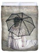 Woman On Street Duvet Cover