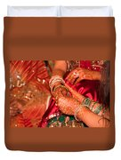 Women With Decorated Hands Holding Hands In A Hindu Religious Ceremony Duvet Cover