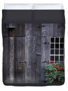 Wooden Building And Window Box Duvet Cover
