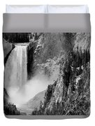Yellowstone Waterfalls In Black And White Duvet Cover