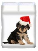 Yorkipoo Pup Wearing Christmas Hat Duvet Cover