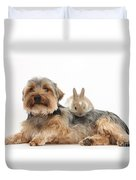 Yorkshire Terrier Dog And Baby Rabbit Duvet Cover