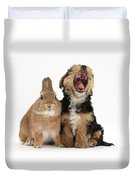 Yorkshire Terrier Pup With Rabbit Duvet Cover