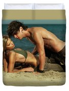Young Couple On The Beach Duvet Cover