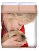 Young Girl With Yellow Labrador Duvet Cover