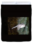 Tufted Titmouse In Flight Duvet Cover