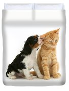 Puppy And Kitten Duvet Cover by Jane Burton