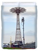 13 Year Old Pitching At Coney Island Cyclones Stadium Duvet Cover
