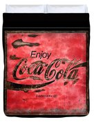 Coca Cola Sign Grungy Retro Style Duvet Cover
