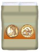 1825 Rainbow Capped Bust Half Dollar  Duvet Cover