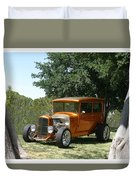 1929 Ford Butter Scorch Orange Duvet Cover by Jack Pumphrey