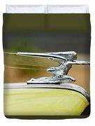 1942 Packard Hood Ornament Duvet Cover