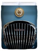 1952 Jaguar Hood Ornament And Grille Duvet Cover