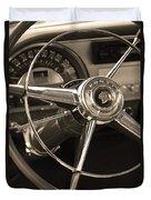 1953 Pontiac Steering Wheel - Sepia Duvet Cover